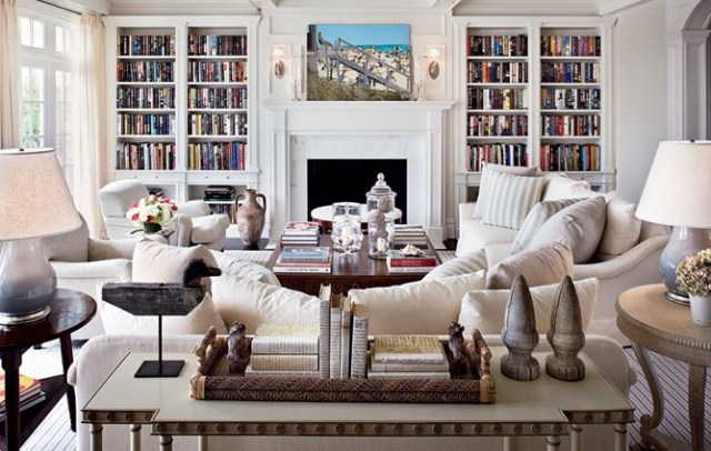 architectural digest hamptons home living room built book shelves