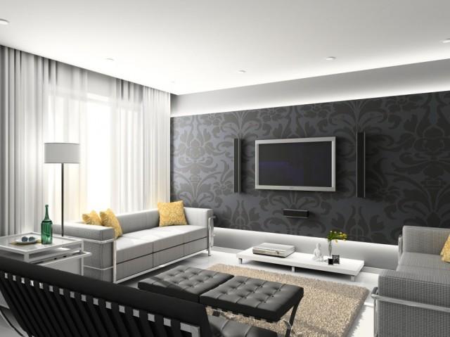 Astonishing-Modern-Interior-Design-Ideas-Black-Floral-Wall-White-Ceiling-915x686