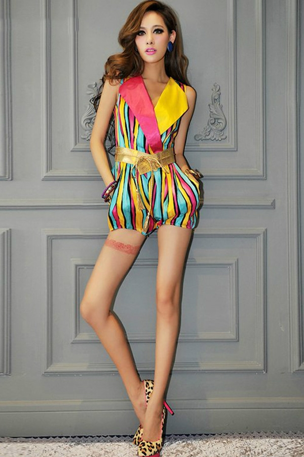 Fashion-Color-Block-Vertical-Stripe-Print-Rompers