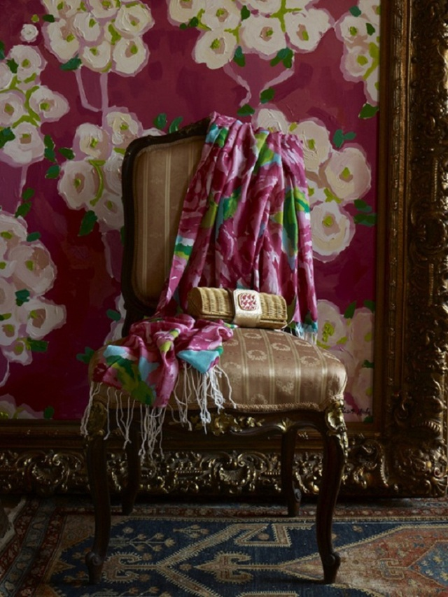 floral-wall-interior-with-paint-color-ideas